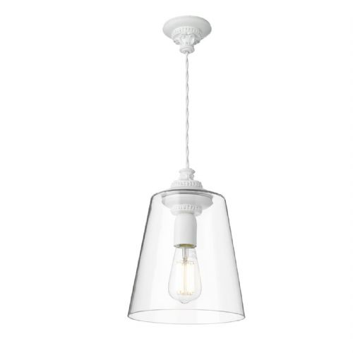 Oyster 1 Light Pendant White + Tapered Glass OYS0102 (7-10 day Delivery) (Double Insulated)